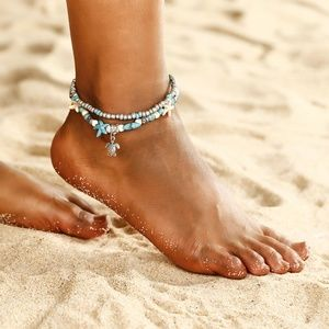 FC17 | Boho Turtle Beach Beads Foot Anklet